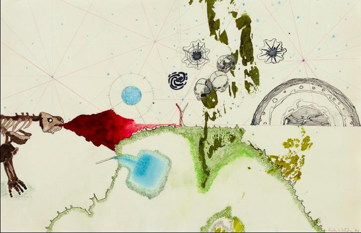 Atlas of Small & Large observations, 2013. Encre et graphite sur papier, 50 x 70 cm. Dessin du livre d'artiste. © Cecilia Westerberg