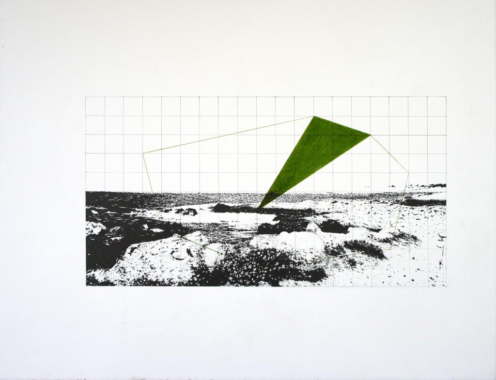 Réaménagements (littoral), 2014. Graphite et crayon de couleur sur papier. 25 x 47,5 cm © Fabien Granet