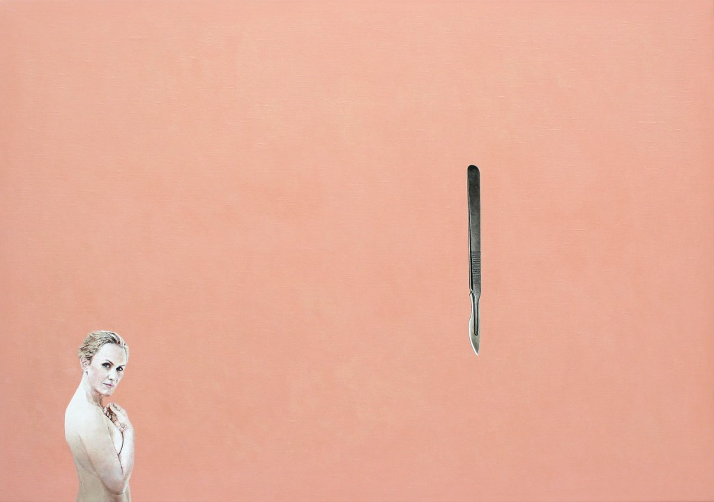 Woman With Scalpel, 2013. Huile et acrylique sur toile. 59 x 85 cm. Courtesy Rune Elgaard Studio & KANT Gallery