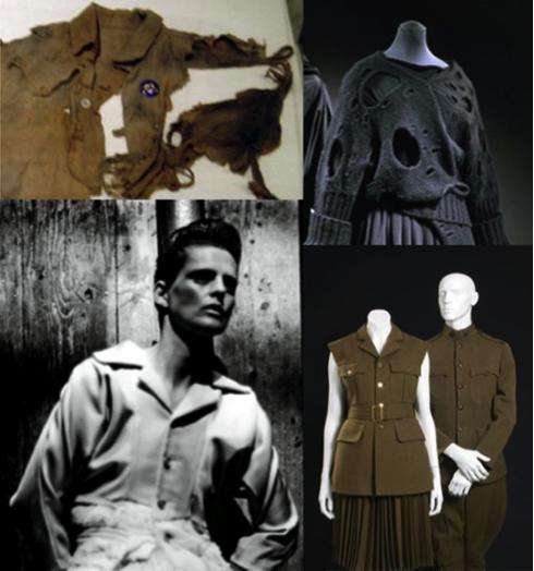 Extraits de collections de CDG des années 1980 : ici, Rei Kawakubo s'inspire des restes de vêtements ayant survécus aux catastrophes nucléaires et des uniformes militaires allemands