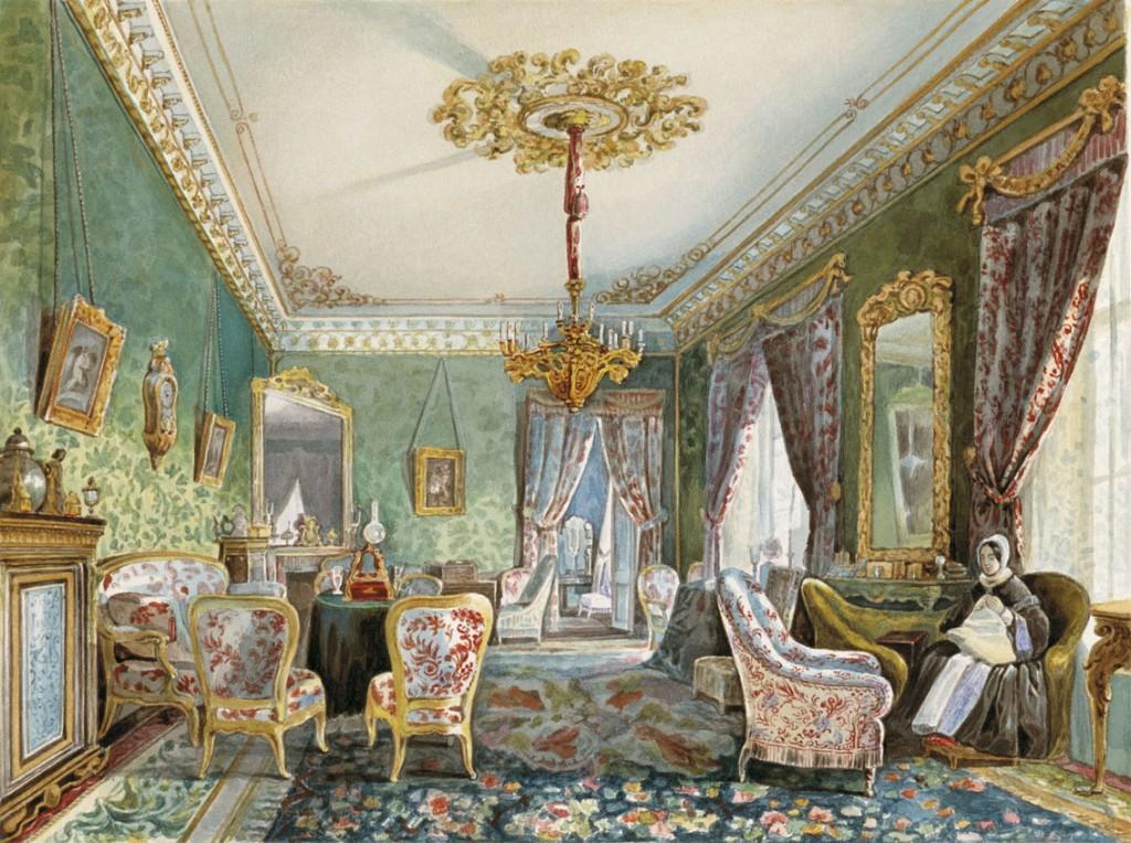 Tikhobrazov, intérieur, 1844, aquarelle. L'intérieur aristocrate est un genre qui se développe dans l'art élitiste de la Russie du XIXe siècle.