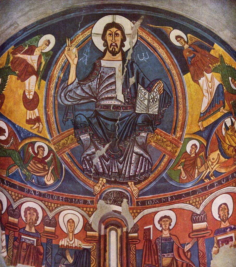 Maître de Tahull, la fresque catalane Maestas Domini à Barcelone, au XIIe siècle : le traitement de l'espace céleste est typiquement médiéval (par superposition de plans, sans effet de profondeur).
