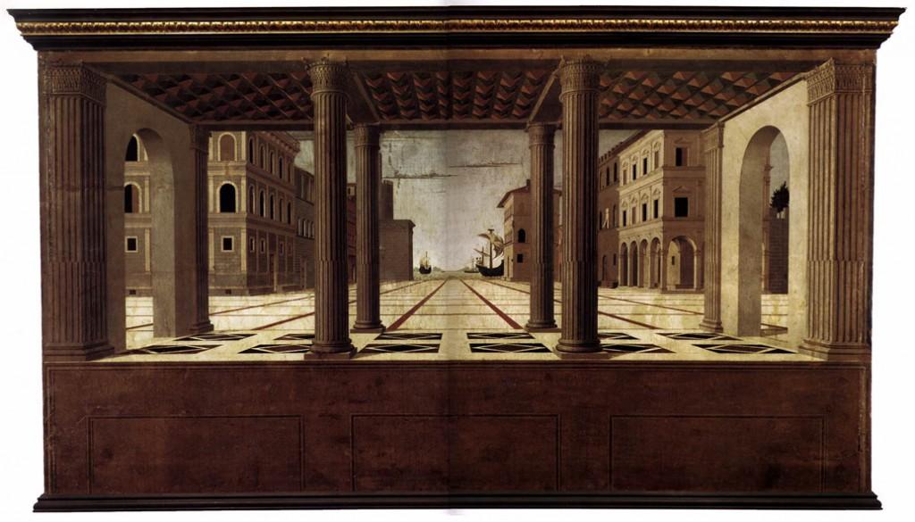 Fra Carnevale, perspective architectonique, XVe siècle : la construction est rigoureuse et géométrique, typique de la Renaissance. L'homme et ses oeuvres architecturales sont au centre de la représentation.