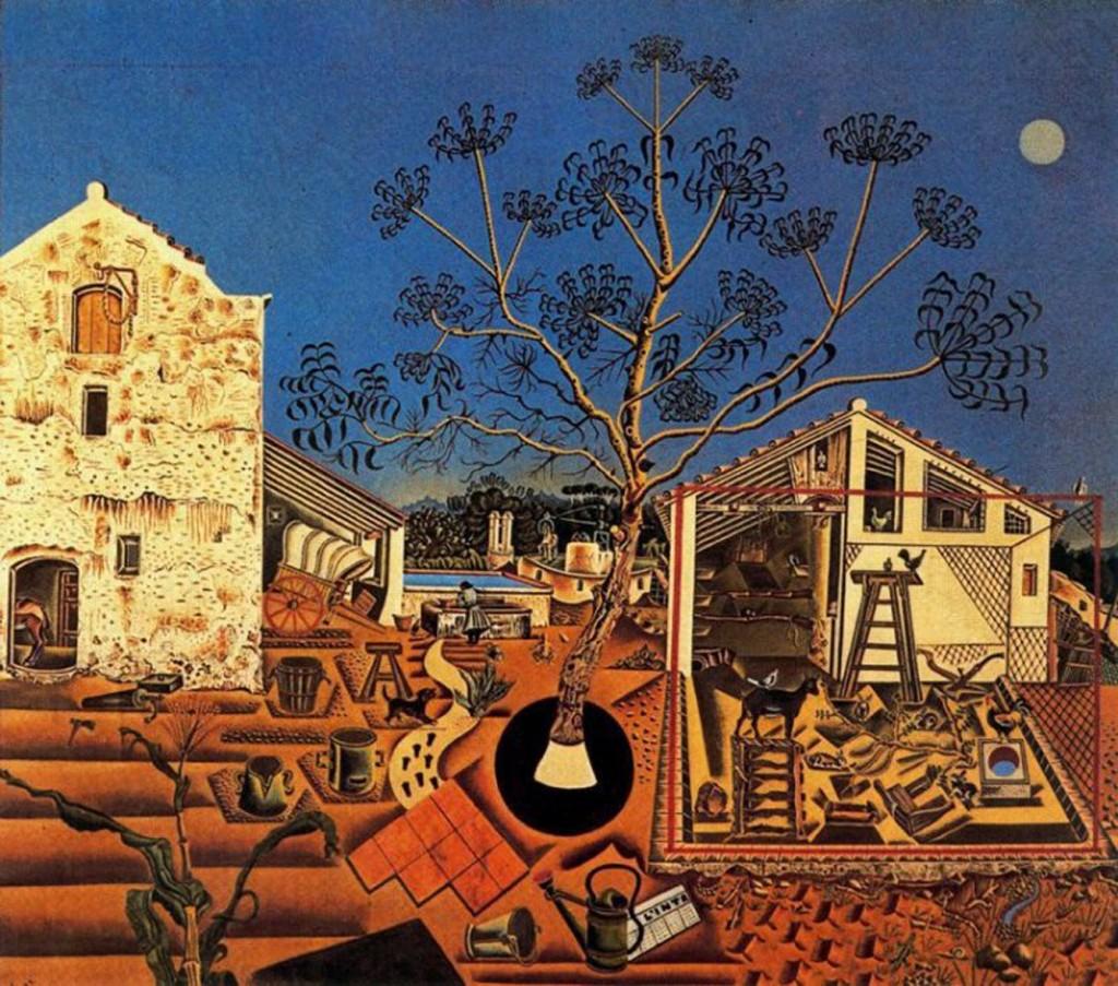 Miró, la ferme,1921-1922 : le regard du spectateur se perd dans le grouillement inquiétant de formes éparpillées de manière aperspective sur la toile.