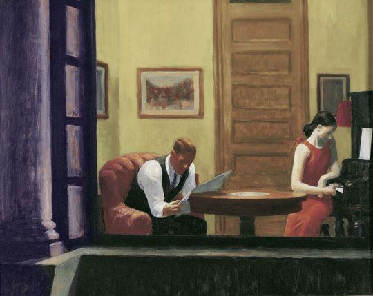 Edward Hopper, Room in New York, 1932, huile sur toile, 73,5 x 91,5 cm, Lincoln (Nebraska), Sheldon Museum of Art