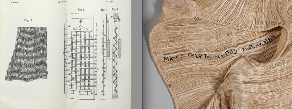 Mariano Fortuny, Etoffe plissée ondulée, brevet déposé (source: Archives INPI)