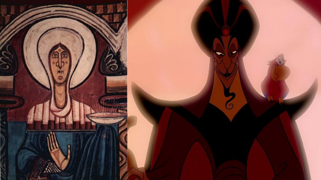 Maître de Tahull, La Vierge, début XIIe, fresque catalane / image extraite d'Aladdin, Disney, 1992