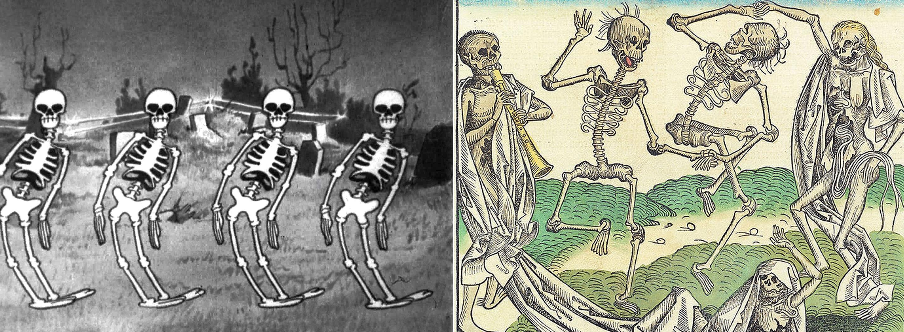 Walt Disney, Skeleton dance - Silly Symphonies, 1929 / Holbein l'Ancien, La Danse macabre, 1493