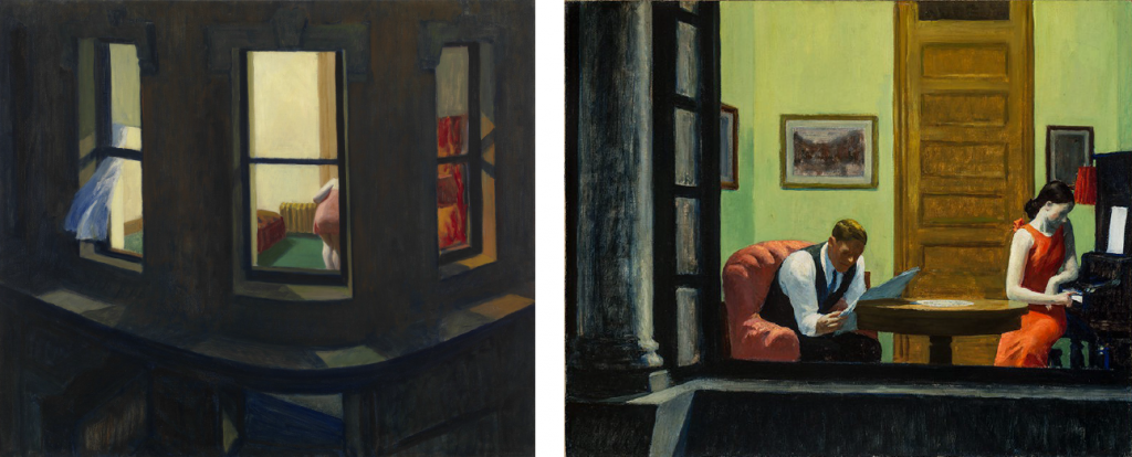 À gauche: Edward Hopper, Night Windows, 1928, huile sur toile, 73,7cm x 86,4cm, New York, MoMA. Source: http://www.moma.org/collection/works/79270?locale=fr. À droite: Edward Hopper, Room in New York, 1932, huile sur toile, 74,4cm x 93cm, Lincoln (Nebraska), Sheldon Museum of Art. Source: http://www.sheldonartmuseum.org/collection/genre. (intimités urbaines et photographie)