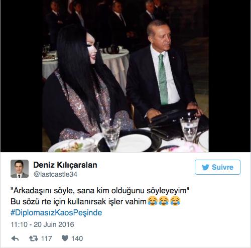 Tweet du Président Erdoğan dînant avec la chanteuse Bülent Ersoy