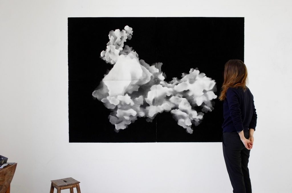 Stardust, 2016, Charbon sur papier, 150 x 210 cm Interplanetary dust viewed under electron microscope Courtesy the artist and Galerie Laurence Bernard