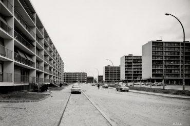 image d'une banlieue dans les années 60 en noir et blanc