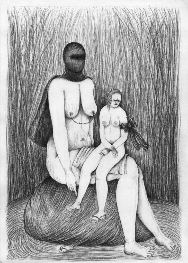 © Céline Guichard - dans les hautes herbes, 2013, fusain sur papier - 42 x 59,4 cm