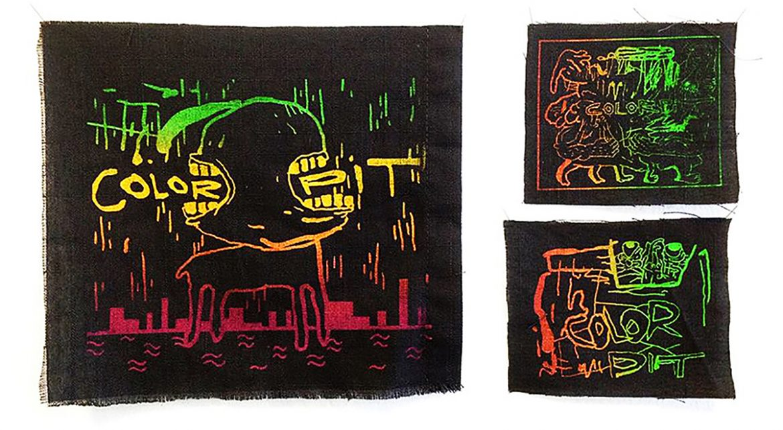 Patchs Sérigraphiés Color Pit ©Benjamin Moutte, vue de l'exposition Color Pit, 6b