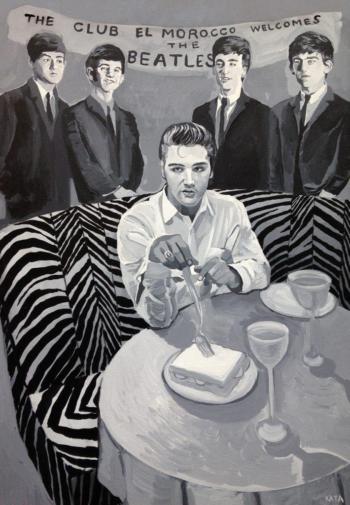 Katabillups– « elvis and the beatles », 2001 acrylique sur toile – 60 x 45 cm, ©Arts Factory
